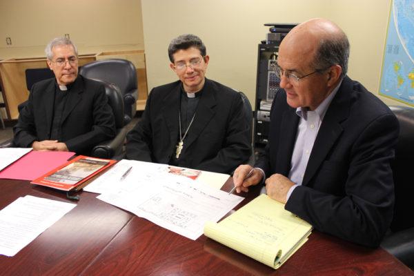 Fr. Raúl Monterroso (left) and Bishop Bernabé Sagastume (middle) meet with Cross Catholic president Jim Cavnar (right)