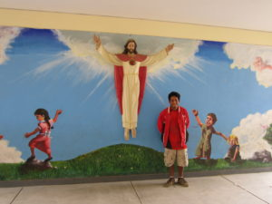 A statue of the resurrected Christ at Santa Maria de Huachipa Catholic School in Peru.