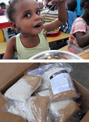 Shipped by Cross Catholic Outreach and served by a local Haitian ministry to poor neighborhood children like the little girl...