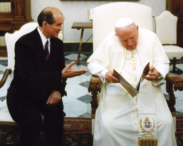Cross Catholic Outreach President Jim Cavnar, meeting with St. Pope John Paul II in 2004