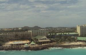 A bird's eye view of St. Maarten from an arriving plane