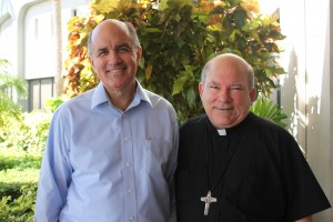 Jim Cavnar, president of Cross Catholic Outreach (left) first met Fr. Glenn Meaux (right) in 2003. The following year Cross Catholic partnered with Fr. Glenn's Kobonal mission and has since funded a variety of ongoing projects including construction of about 200 homes.
