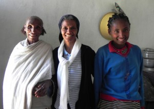 Thanks to Sr. Abeba (middle), Berhane (left) is off the cruel streets and in a safe home of her own in a caring community.