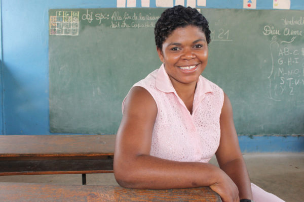 Gertrude Cene at the Kobonal Haiti Mission school she attended as a teenager.