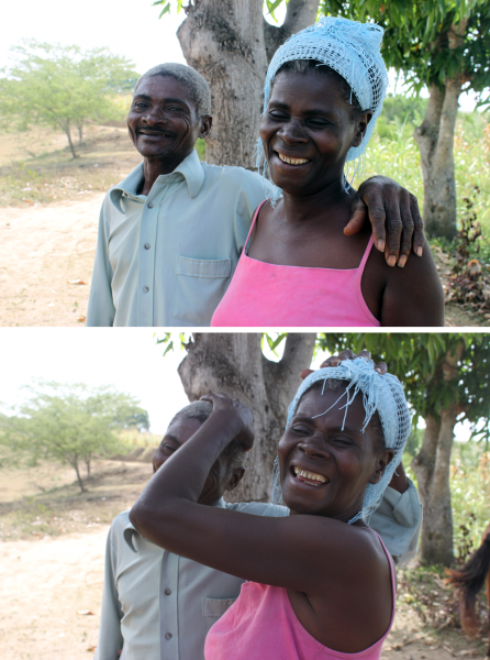 """""""God is always behind us in everything we do. He places us in his hands and helps us get by."""" -Claude Joseph, recipient of monthly food staples from Cross Catholic Outreach ministry partner, Kobonal Haiti Mission, for his family of five — including his mischievous wife, Jezella."""