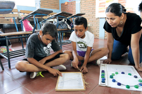 At Fabretto, the students create their own teaching aids using found materials.