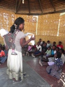Children gather for lessons at the Tete Center in Mozambique.