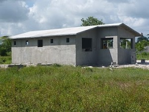 This is one of two dorms for girls under construction at Pwoje Espwa.