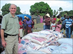 Cross Catholic President Jim Cavnar at a refugee camp soon after the Haiti earthquake. 2010 was a year of great challenges, but God's blessings, and the generosity of our donors, shined through.