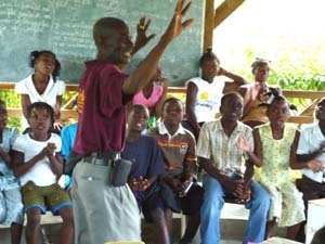 The PEPFAR project's AIDS-prevention message is getting delivered to schools and church youth groups throughout Haiti.