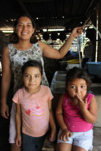 Elisa and her children in Nicaragua