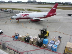 Cross International arranged for this C737 cargo plane to airlift supplies into Port-au-Prince