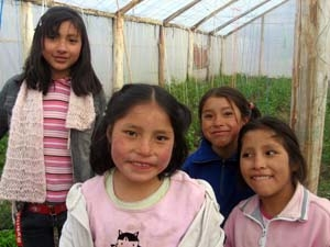 Here's a shot of a few of the girls at Hogar Mercedes who were tending vegetables in one of their two greenhouses