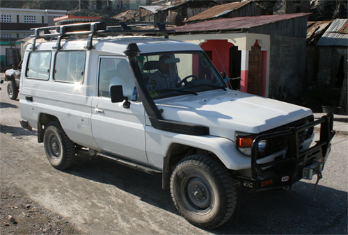 The new Land Cruiser HHF will soon buy with the funds we provided will look similar to this. The vehicle will be used to transport staff members, medicine, and expectant mothers needing care over the rough terrain of Jeremie and the surrounding mountain communities HHF serves.