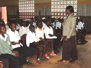 Josephine Kabuye teaches Muslim primary school students about the dangers of sexual promiscuity