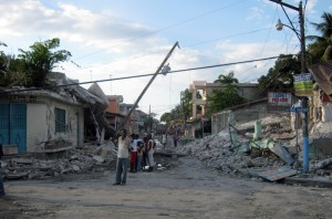 A view of the street just outside the hospital in Leogane, a town outside of Port-au-Prince. Almost nothing was left standing there.
