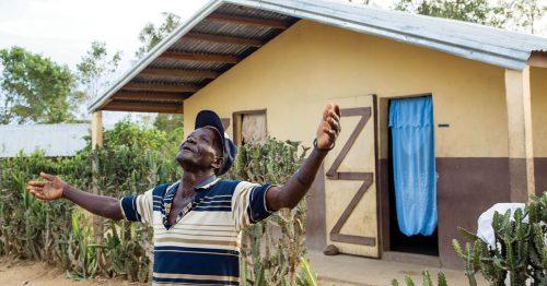 Haitian man offering praise