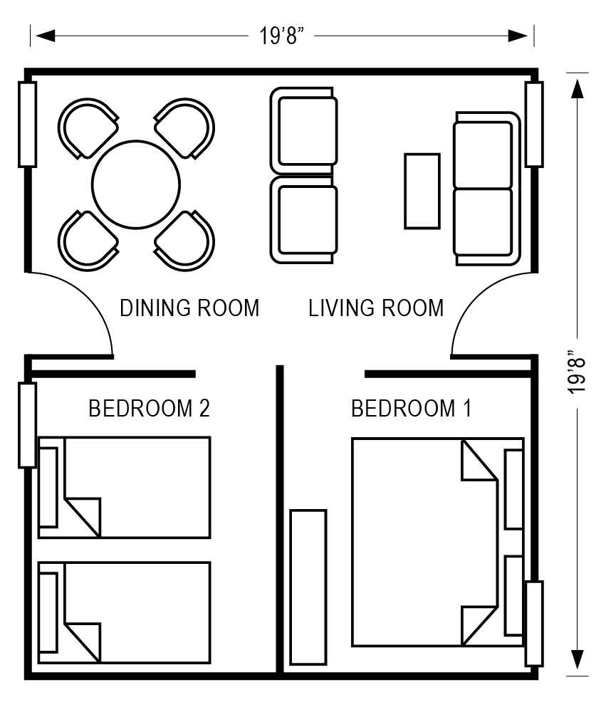 Santa Rosa Floorplan Graphic for Housing Project