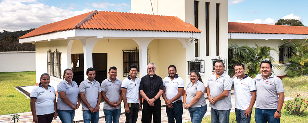 Father Raul Monterosso, head of Caritas in the Diocese of Santa Rosa de Lima, and his staff members.