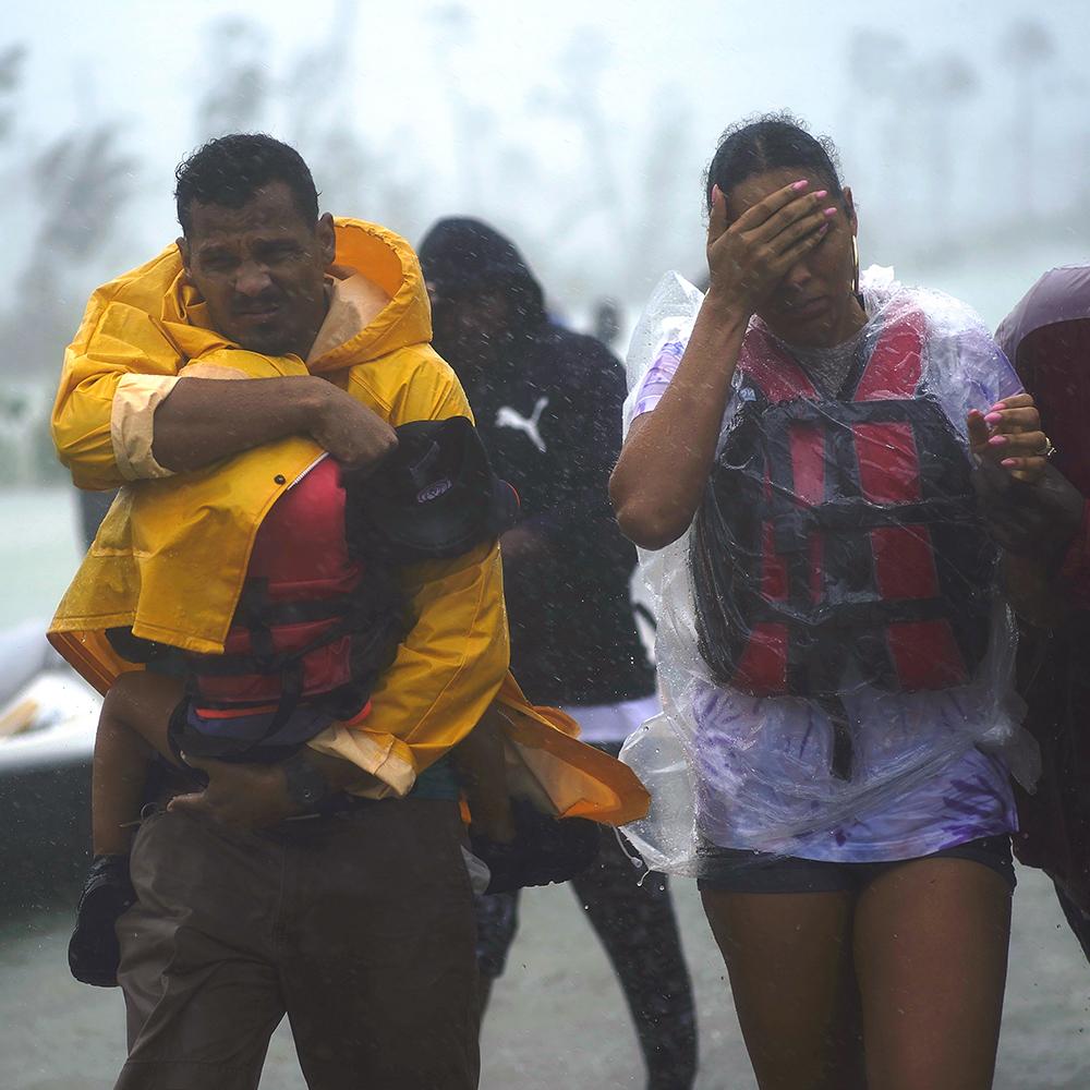 Family flees, homeless, during storm