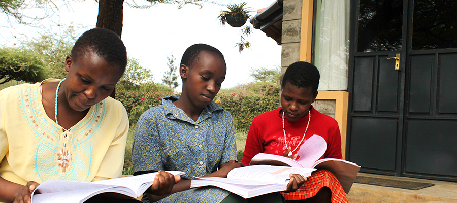 Girls studying at the Marie Adelaide Girls Rescue Center in Kenya
