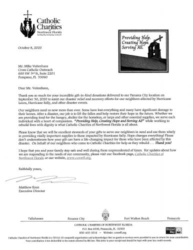 Letter from Catholic Charities of Northwest Florida