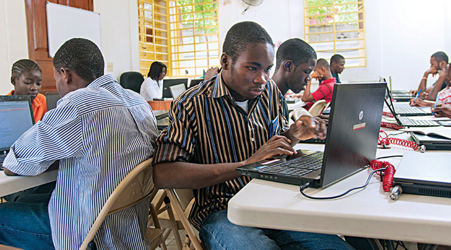 Inside the computer lab at HELP in Haiti