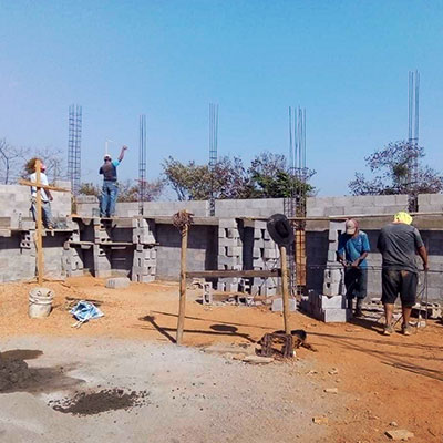 Progress: Construction of the chapel began in March.