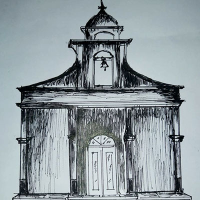 Before: A sketch of the proposed chapel building.