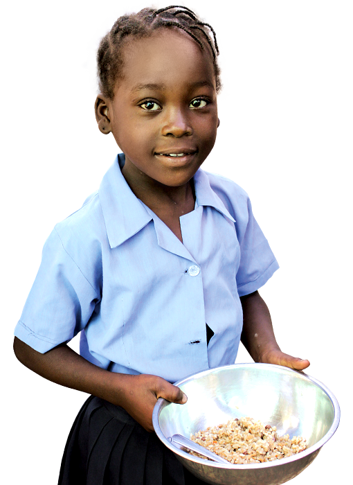 Beneficiary Girl Holding a Bowl of Food