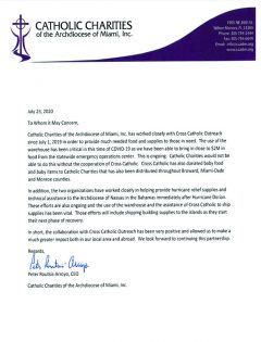 Catholic Charities letter
